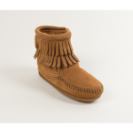 Minnetonka Children's Double Fringe Ankle Boot in Taupe 9