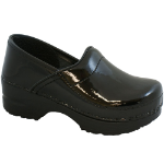 Sanita Gitte Clog for Kids in Black Patent 26