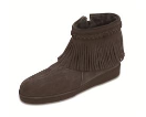 Minnetonka Sheepskin Side-Zip Fringe Boot for Women