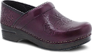 Dansko Embossed Pro Clog for Women in Wine Burnished Calf