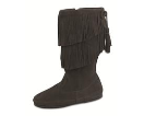 Minnetonka Calf Hi 2-Layer Fringe Boot for Women