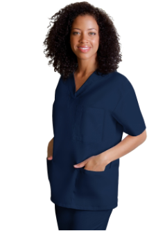 NYUWMA Unisex Embroidered 3 Pocket Scrub Top-Navy