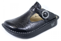 Alegria Classic Black Embossed Rose Clog for Women