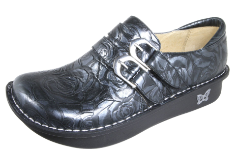 Alegria Alli Black and Silver Rose Shoe for Women