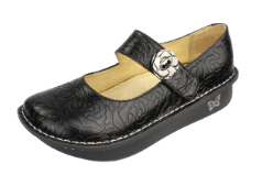 Alegria Paloma Black Embossed Rose Shoe for Women