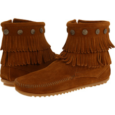 Minnetonka Double Fringe Side Zip Boot for Women