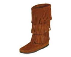 Minnetonka Calf Hi 3-Layer Fringe Boot for Women