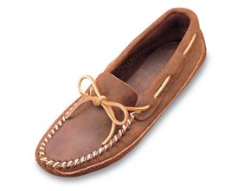 Minnetonka Double Bottom Softsole Shoe for Men in Brown Ruff Leather