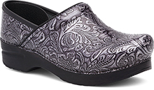 Dansko Professional Clog For Women in Grey Tooled Patent