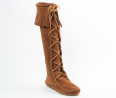 Minnetonka Knee Hi Lace-Up Boot for Women in Brown 6