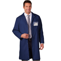"META 40"" Unisex Lab Coat in Navy & Blue"