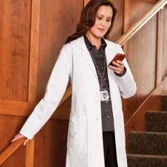 "META 36"" Embroidered Lab Coat for Women"