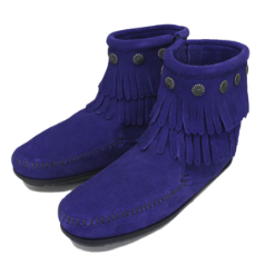 Minnetonka 2 Layer Fringe Boot for Women in Blue 8