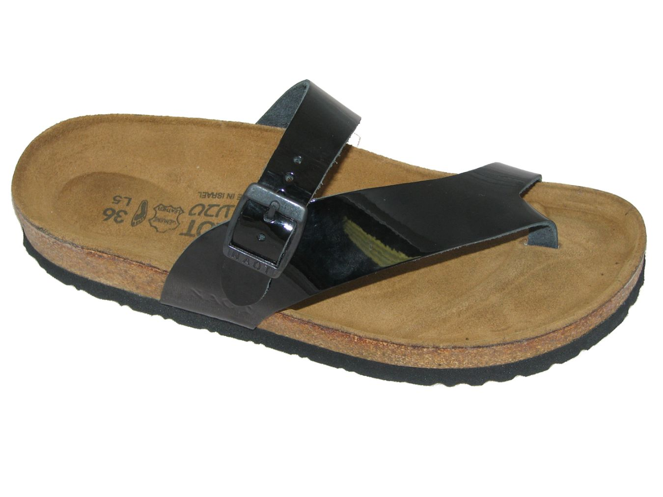 Naot Tahoe Sandal for Women in Black Patent Leather