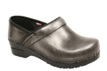 Sanita Professional Clog in Gunmetal Cabrio Leather for Women in Wide Widths