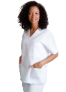 NYUWMA Unisex Embroidered 3 Pocket Scrub Top-RN White
