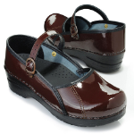 Sanita Marcelle Closed Back Clog for Women in Black Patent Leather