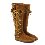 Minnetonka Knee Hi Lace-Up Boot for Women in Brown 7