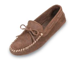 Minnetonka Original Cowhide Driving Moccasin for Men in Brown Ruff Leather