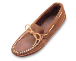 Minnetonka Double Bottom Hardsole Shoe for Men in Brown Ruff Leather