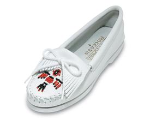 Minnetonka Thunderbird Boat Sole Moccasin for Women in White 7