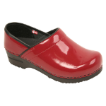 Sanita Professional Clog in Black, White & Red Patent Leather for Women