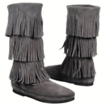 Minnetonka 3-Layer Fringe Boot for Women in Grey 5