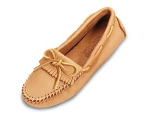 Minnetonka Moosehide Driving Moccasin for Women in Natural 10