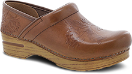 Dansko Embossed Pro Clog for Women in Tan Burnished Calf