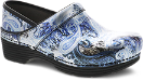 Dansko LT Pro Clog for Women in Silver/Blue Paisley Patent